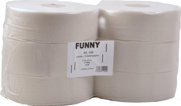 Jumbo Toilettenpapier aus Recyclingpapier 2-lagig, 9x25 cm, Ø 28 cm, hellgrau (6 Rollen)