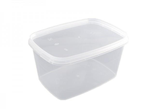 50 Rechteckbecher transparent mit passendem Deckel 1750 ml