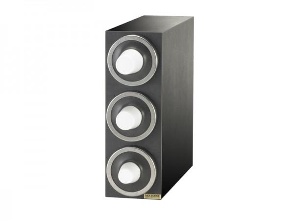 EZ Fit Becherspender Boxsystem, 3x C2410C, mit metallfarbenen Blendenringen für Becher Ø 73-121 mm