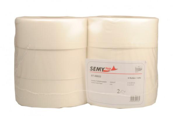 Jumbo-Toilettenpapier 2-lagig, 9,6x24 cm, Ø 24,5 cm, hochweiß (6 Rollen)