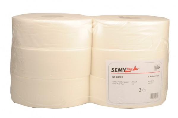 Jumbo Toilettenpapier 2-lagig, 9,6x24 cm, Ø 28 cm, hochweiß (6 Rollen)