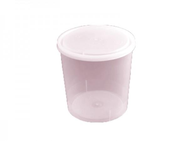 50 Runddosen transparent mit weißem Deckel 592 ml