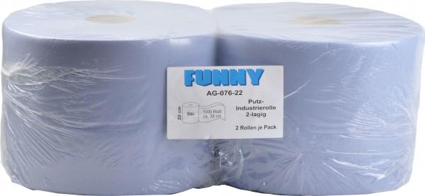 Industriepapierrolle 2-lagig, 21,7x33,3 cm, blau, 1.000 Blatt (2 Rollen)