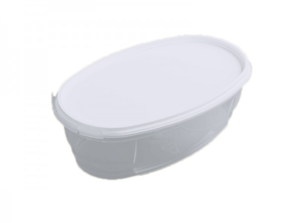 50 transparent oval mit passendem Deckel 390 ml