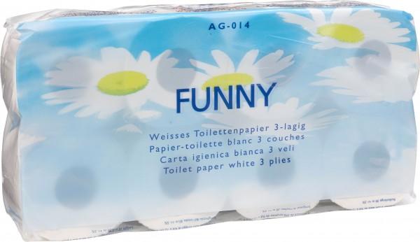Toilettenpapier 3-lagig, 9,4x11 cm, hochweiß, 250 Blatt (9x8 Rollen)