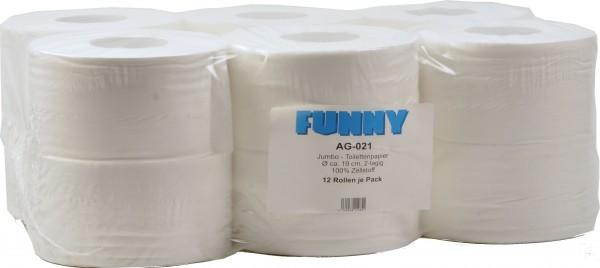 Jumbo Toilettenpapier 2-lagig, 9,5x19 cm, Ø 18 cm, hochweiß (12 Rollen)
