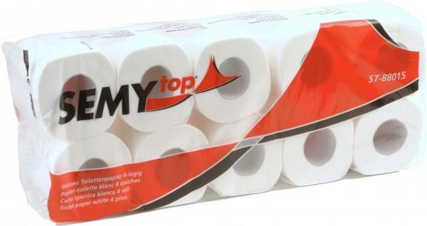 Toilettenpapier 4-lagig, 9,8x11,5 cm, hochweiß, 150 Blatt (8x10 Rollen)
