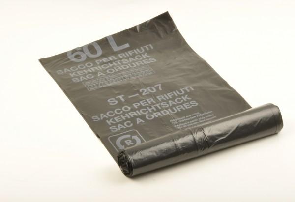 LDPE-Reg. Kehrichtsäcke 280+270x1000 mm, Typ 60 extra, 60 l, schwarz (30x10 Stk.)