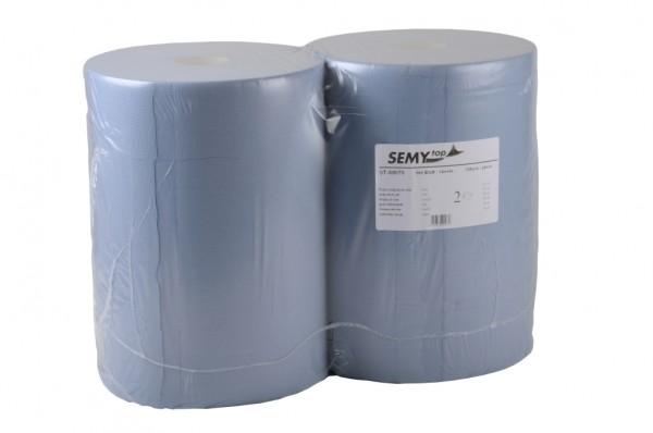 Industriepapierrolle 2-lagig, 37x32cm, blau, 1.000 Blatt (2 Rollen)