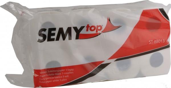 Toilettenpapier 3-lagig, 9,4x11,5 cm, hochweiß, 150 Blatt (12x8 Rollen)