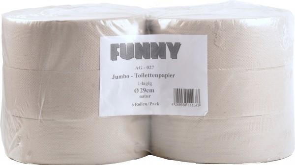 Jumbo Toilettenpapier aus Recyclingpapier 1-lagig, 9 cm, Ø28 cm, grau (6 Rollen)