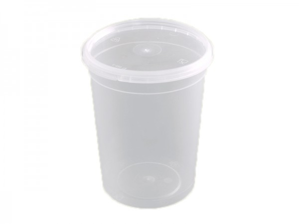 50 Runddosen transparent mit passendem Deckel 555 ml