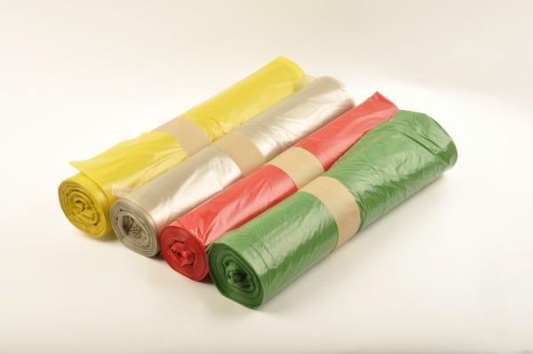 LDPE Müllsäcke 700x1100 mm, Typ 60, 120 l, transparent, gelb, grün oder rot (10x25 Stk.)