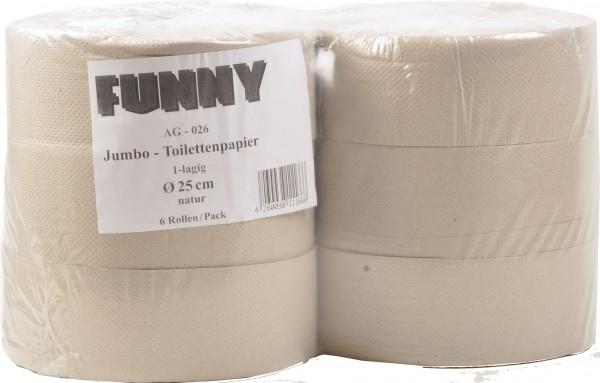 Jumbo Toilettenpapier aus Recyclingpapier 1-lagig, 9 cm, Ø25 cm, grau (6 Rollen)