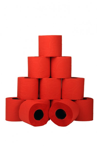 Toilettenpapier 3-lagig, 9,6x11 cm, rot, 120 Blatt (16x4 Rollen)