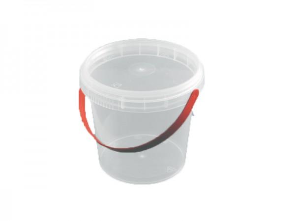 50 Runddosen / Eimer transparent mit Deckel und rotem Bügel 360 ml