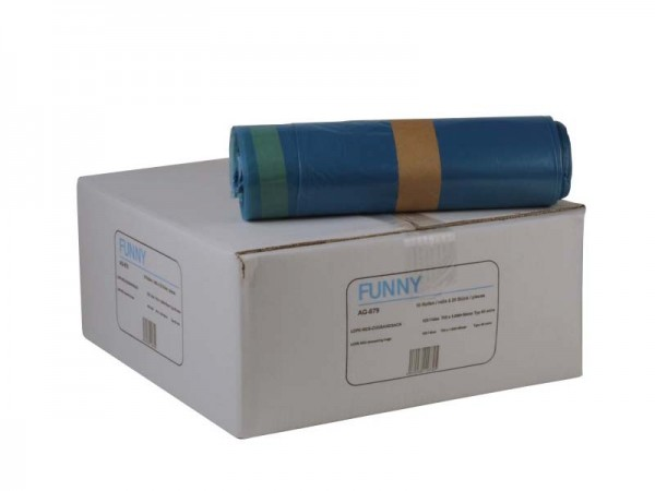 LDPE Zugbandsäcke Müllsäcke 700x1100 mm, Typo 60 extra, 120 l, blau (10x25 Stk.)